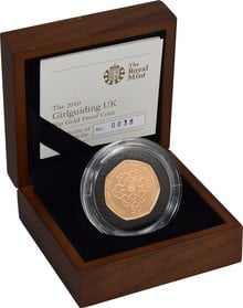 Gold Proof 2010 Fifty Pence Piece - Girlguiding Boxed