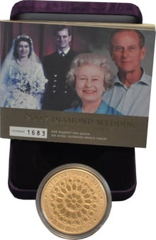 2007 - Gold £5 Proof Crown, Diamond Wedding Boxed
