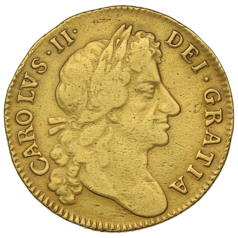1677 Gold Guinea Charles II