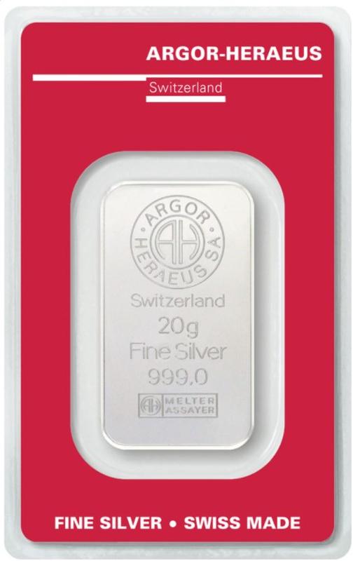 Argor-Heraeus 20 Gram Silver Bar