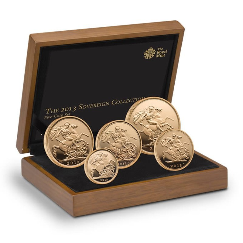 2013 Gold Proof Sovereign Five Coin Set Boxed