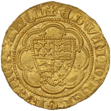 1361-9 Edward III Hammered Gold Quarter Noble mm Cross Potent