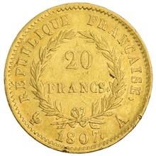 1807 20 French Francs - Napoleon (I) Bare Head (Temporary) - A