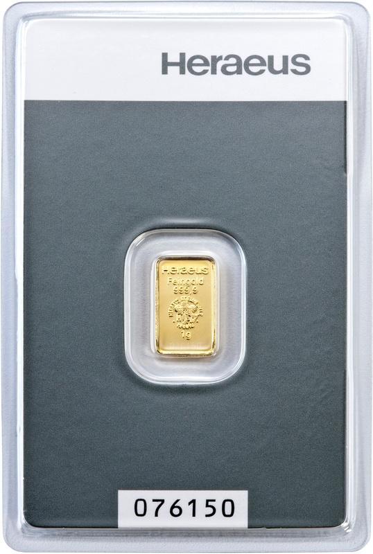Heraeus 1 Gram Gold Bullion Bar