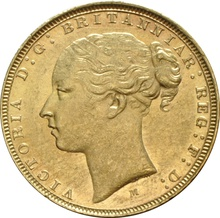 1876 Gold Sovereign - Victoria Young Head - M