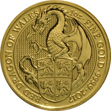 1oz Gold Coin, Red Dragon - Queen's Beast Gift Boxed