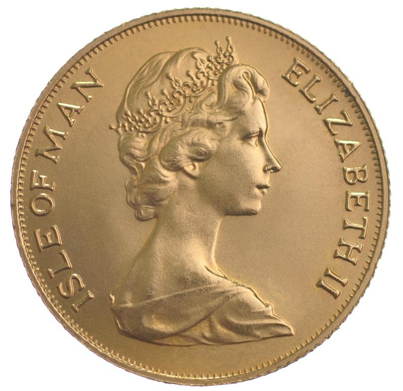 1975 Gold Sovereign - Elizabeth II Decimal Portrait - Isle of Man