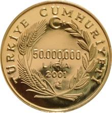 2001 Turkish 50 Lira gold coin