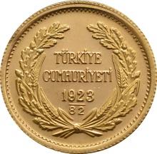 Turkish 100 Piastres Kurush Gold Coin - Kemal Ataturk