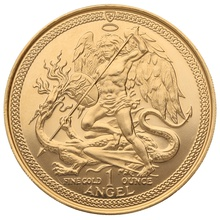 1985 1oz Ounce Gold Isle of Man Angel