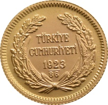 Turkish 50 Piastres Kurush Gold Coin - Kemal Ataturk