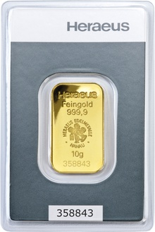Heraeus 10 Gram Gold Bar