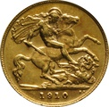1910 Gold Half Sovereign - King Edward VII - London