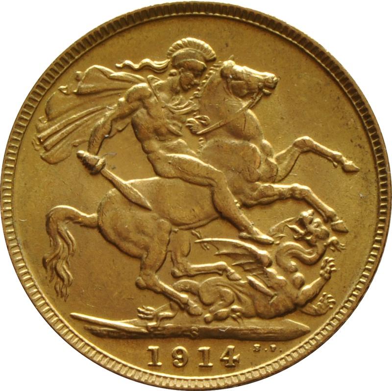 1914 Gold Sovereign - King George V - S