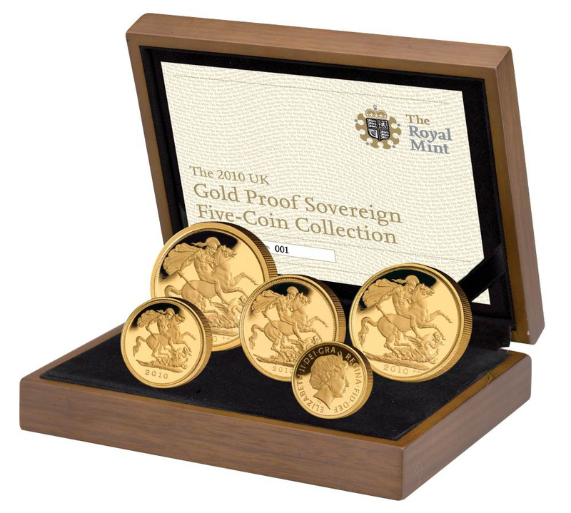 2010 Gold Proof Sovereign Five Coin Set Boxed