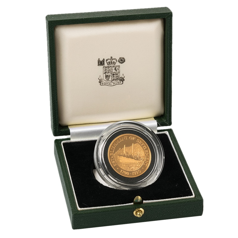 1990 Pitcairn Islands $250 Bicentenary of the First Settlement Gold Proof Coin Boxed