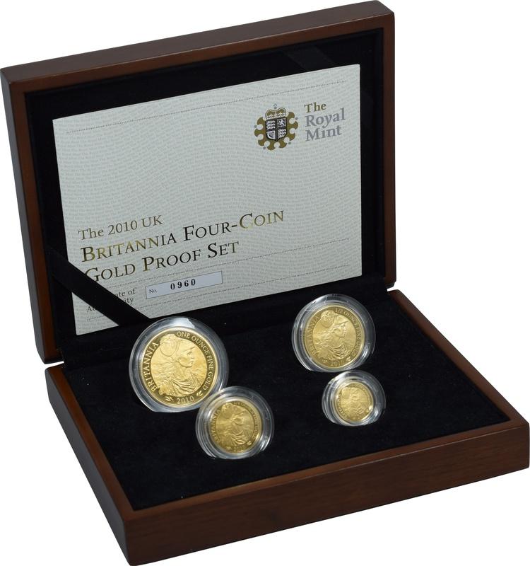 2010 Proof Britannia Gold 4-Coin Set Boxed