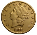 1888 $20 Double Eagle Liberty Head Gold Coin, San Francisco