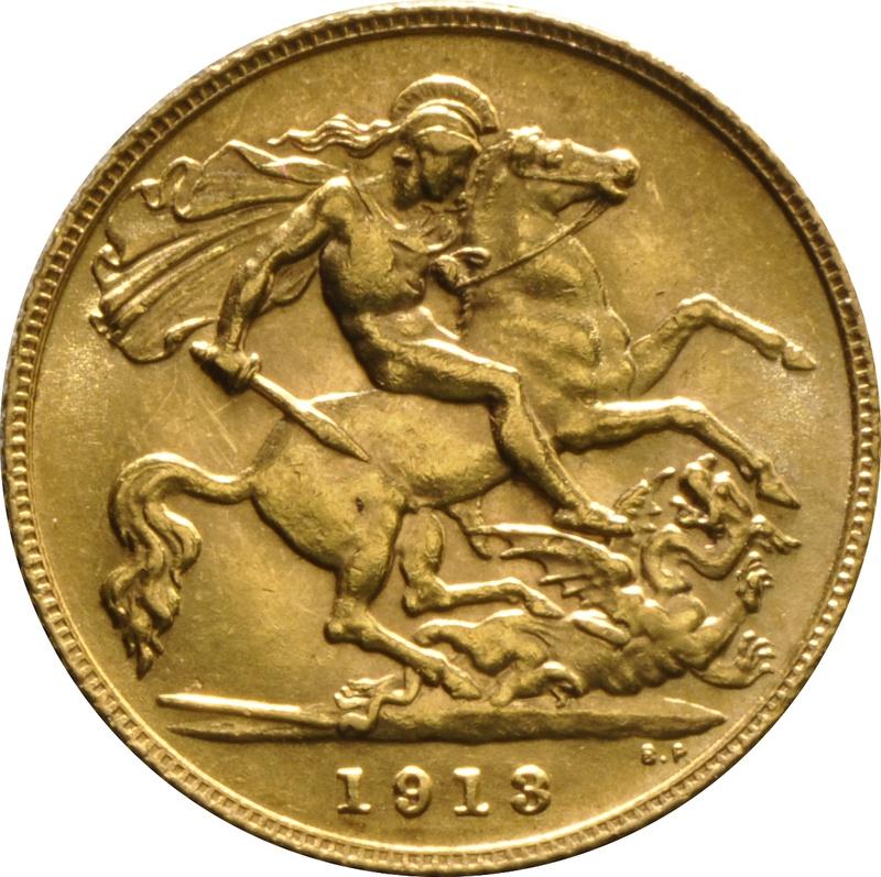 1913 Gold Half Sovereign - King George V - London