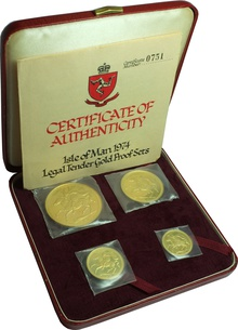 1974 Isle of Man Gold Proof Sovereign Four Coin Set Boxed