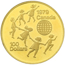 Canadian 1979 $100 half ounce Proof gold coin International Year of the Child Boxed