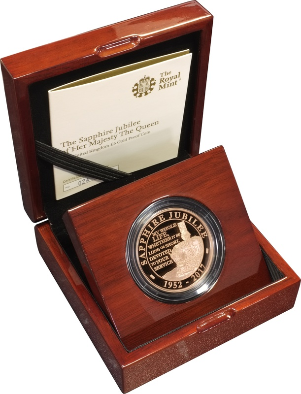 2017 - Gold £5 Proof Crown, Sapphire Jubilee of her Majesty The Queen Boxed