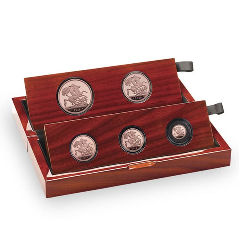 2018 Gold Proof Sovereign Five Coin Set - fifth head Boxed