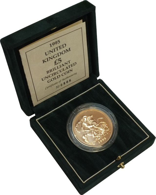 1995 - Gold £5 Brilliant Uncirculated Coin Boxed