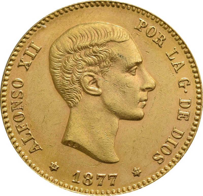 25 Spanish Pesetas - Alfonso XII Young Head