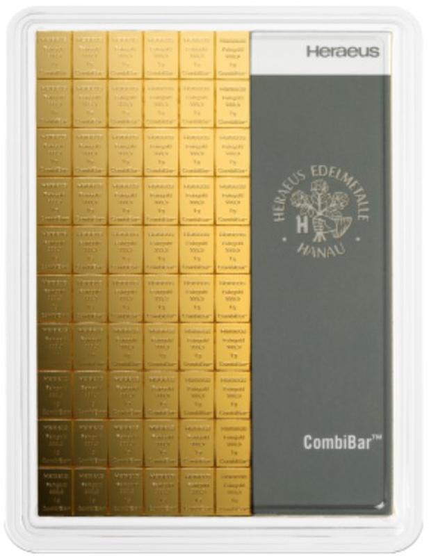 Heraeus CombiBar 100 x 1 Gram Gold Bar