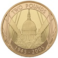2005 £2 Two Pound Proof Gold Coin 60th Anniversary WWII 1945