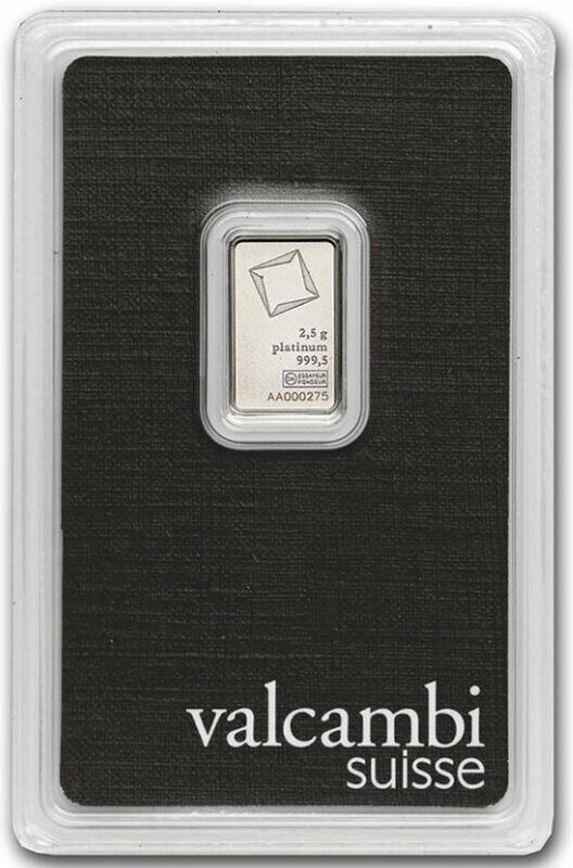 Valcambi 2.5 Gram Platinum Bar Minted