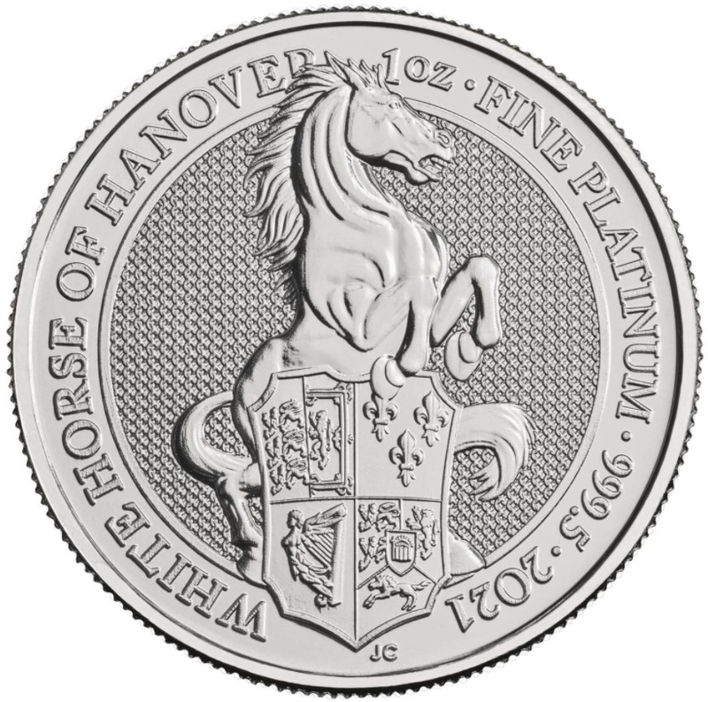 2021 1oz Platinum White Horse of Hanover - Queen's Beast Coin