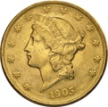 1905 $20 Double Eagle Liberty Head Gold Coin, San Francisco