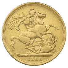1822 Gold Sovereign - George IV Laureate Head
