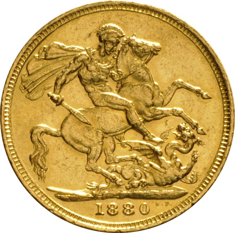 1880 Gold Sovereign - Victoria Young Head - M