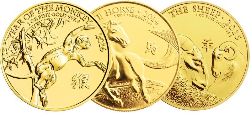 1oz Royal Mint Lunar Beasts Arms Series £100 Gold Coins