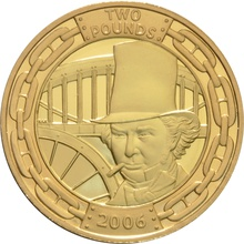 2006 £2 Two Pound Proof Gold Coin Double Set Brunel the Man and his achievements Boxed