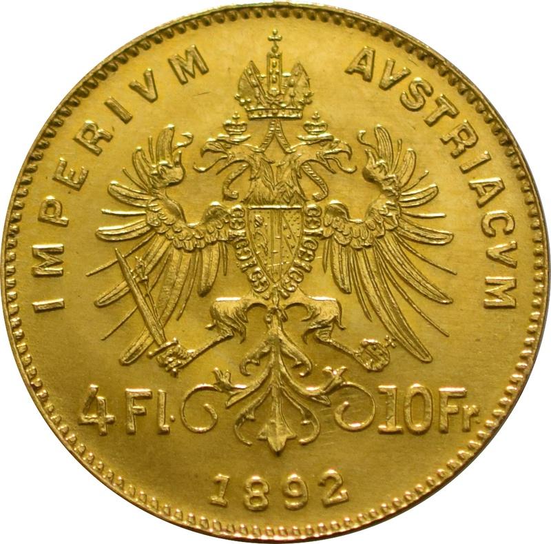 Gold Austrian 10 Francs 4 Florins