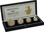 1989 Proof Britannia Gold 4-Coin Set Boxed