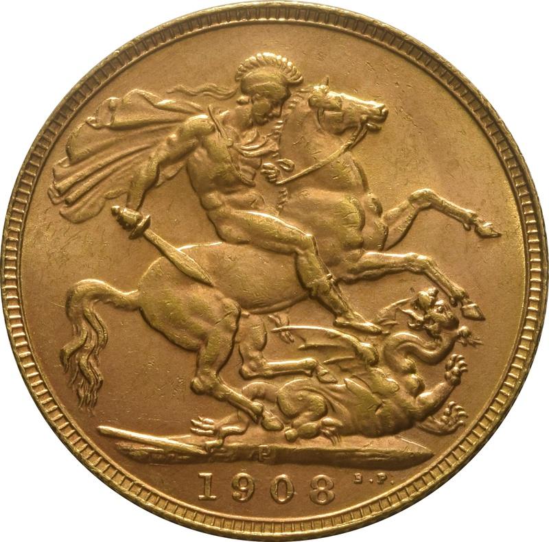 1908 Gold Sovereign - King Edward VII - P