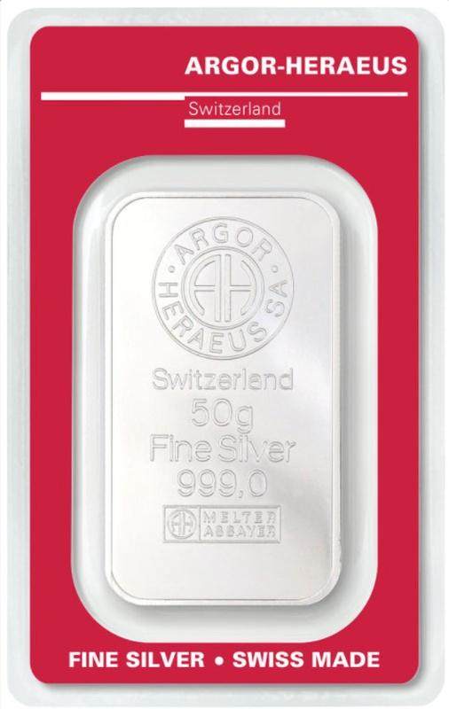 Argor-Heraeus 50 Gram Silver Bar