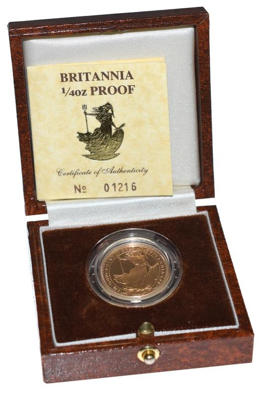 1987 Britannia Quarter Ounce Gold Proof Coin Boxed