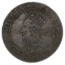 1638-9 Charles I Silver Sixpence mm anchor