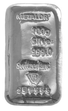 Metalor 100 Gram Silver Bar