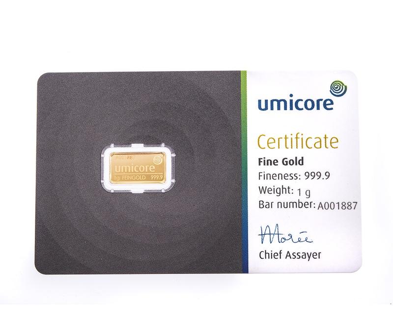 Umicore 1 Gram Gold Bar