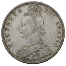 1887 Queen Victoria Silver Milled Halfcrown - About Uncirculated