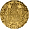 1856 Gold Sovereign - Victoria Young Head Shield Back - London