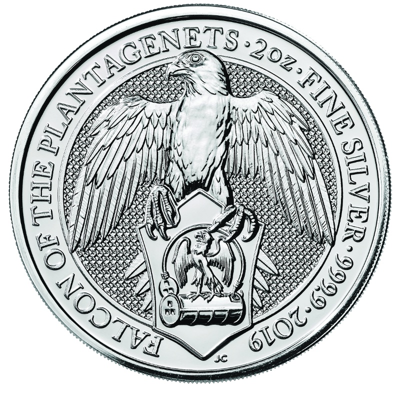 2019 2oz Silver Coin, Falcon of the Plantagenets - Queen's Beast