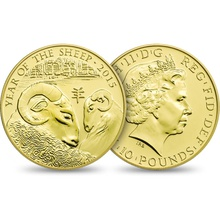 2015 Royal Mint 1/10th Oz Year of the Sheep Gold Coin Boxed